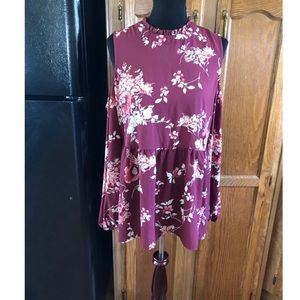 Bobeau Floral Cold Shoulder Top Size XL